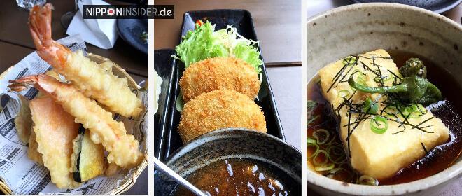 japanische Restaurants in Berlin. Matcha-Eis im Izakaya Iro in Friedrichshain. Bild von Tempura, Kroketten und Tofu