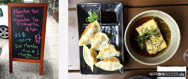 japanische Restaurants in Berlin. Matcha-Eis im Izakaya Iro in Friedrichshain. Bild von einer Anzeigentafel, Gyoza und Tofu