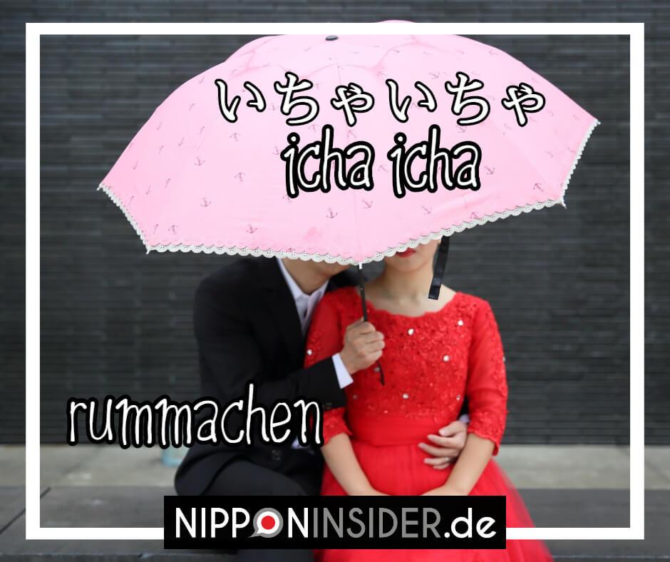 Bild: Ein Paar unter einem rosa Regenschirm. Text: ichaicha beschreibt im umgangsprachlichen Japanisch, wenn man rummacht. Japanische Ausdrücke auf Nipponinsider