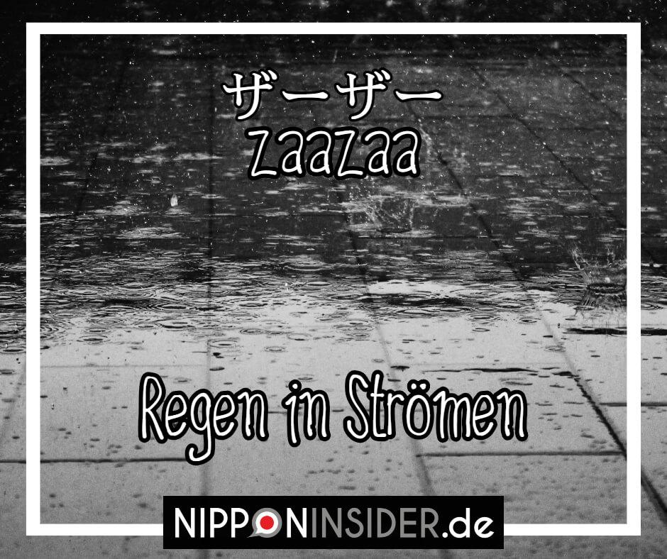"""Bild: Regentropfen platschen auf den Asphalt. Text: zaazaa ist ein japanischer umgangsprachlicher Ausdruck für """"Regen in Strömen"""". Japanische Ausdrücke auf Nipponinsider"""