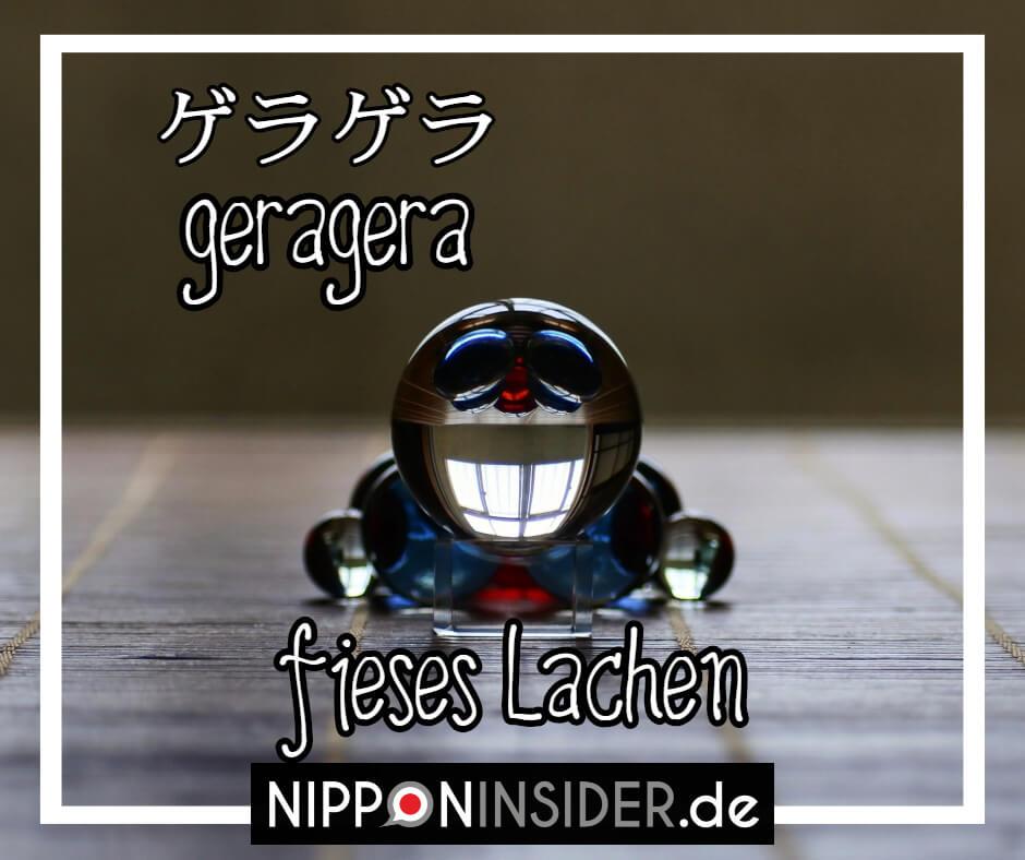 """Bild: ein hämisch grinsender Doraimon. Text: geragera ist ein japanischer umgangsprachlicher Ausdruck für """"fieses lachen"""". Japanische Ausdrücke auf Nipponinsider"""