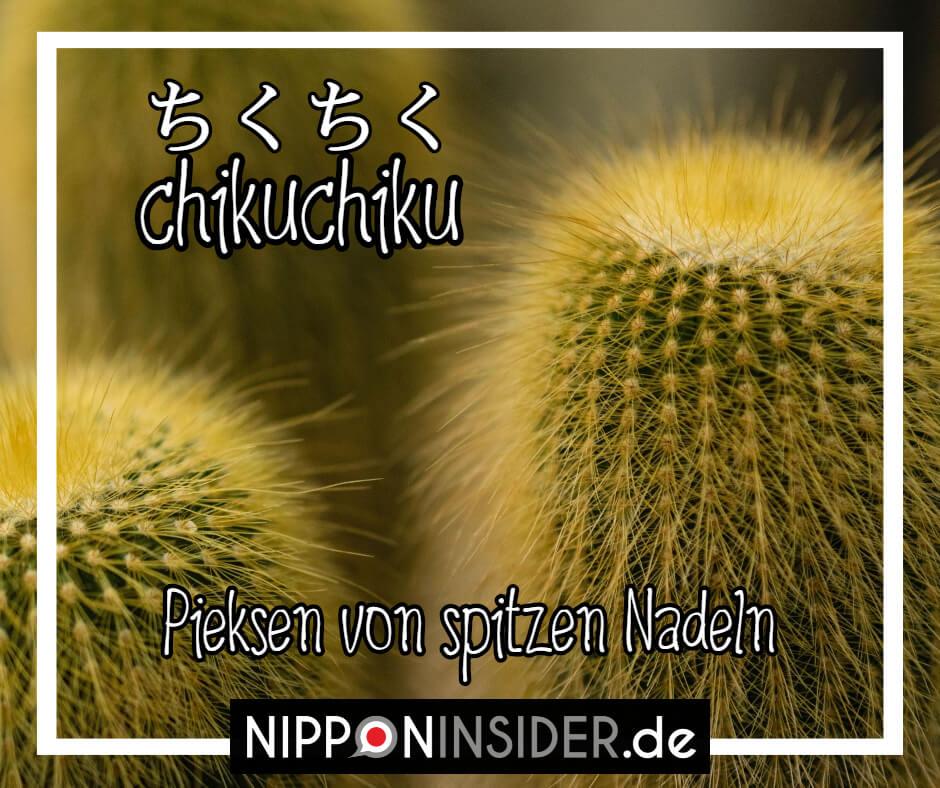"""Bild: Kakteen und ihre Nadeln. Text: chikuchiku ist ein japanischer umgangsprachlicher Ausdruck für """"das Pieksen von spitzen Nadeln"""". Japanische Ausdrücke auf Nipponinsider"""