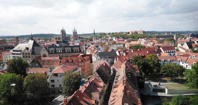 Blick auf Erfurt vom Turm der Ägidiuskirche