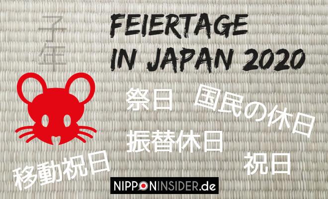Feiertage in Japan 2020. Bild vom Jahr der Maus