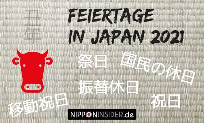 Feiertage in Japan 2021. Bild vom Jahr der Kuh